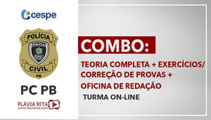 [Curso On-line de Português para Concursos - COMBO: Teoria Completa + Exercícios/Correção de Provas + Oficina de Redação para o concurso da Polícia Civil da Paraíba - PCPB/ CESPE - Professora Flávia Rita]